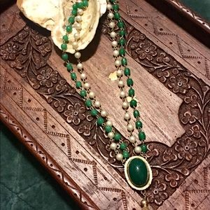 Antique faux flapper tassel necklaces green pearl